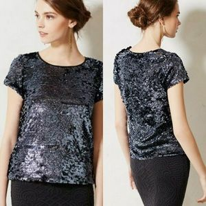 Anthropologie Leifsdottir Sequin Tee Blouse
